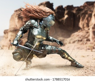 Female fully armored red headed warrior stands in a guard battle stance after dodging a volley of arrows on the battlefield . 3d rendering illustration