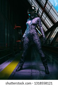 female futuristic astronaut dressed suit with helmet in base  3d render
