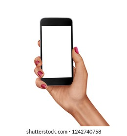 Female hand holding smartphone with white screen realistic illustration isolated on white background.