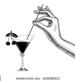 Female hand holding a straw over the cone glass with a Сherry cocktail. Vintage color engraving stylized drawing