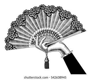 Female hand with open fan. Vintage engraving stylized drawing