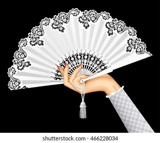 Female hand with open white vintage fan isolated on black background. 3D illustration. Contains the Clipping Path