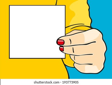 Female hand with a sheet of paper (raster version)