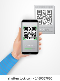 Female hand using smartphone to capture QR code price tag isolated on white background. Cashless payment technology concept. Design element for banner, poster, retail, mobile app, online shopping