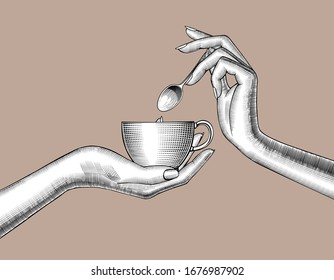 Female hands with a coffee cup and spoon. Vintage engraving stylized drawing