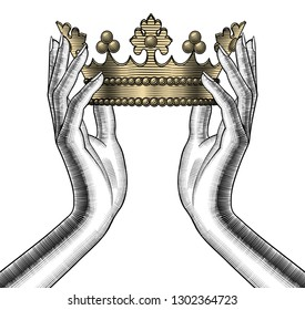 Female hands holding a gold crown. Vintage engraving stylized drawing