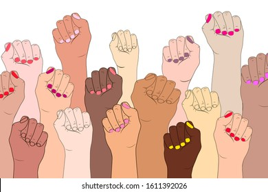 Female hands on a white background. A symbol of the feminist movement, struggle and resistance. Illustration concept of International women feminism. Female fingers with manicure isolated.