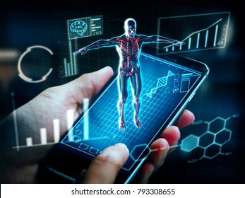 Female hands using smartphone with Hologram Human anatomy and skeleton.health care application.3D rendering