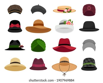 Female hats and caps. Woman vacation cap and hat illustrations, bonnet and panama, traditional lady head wearing types, fashion beret and napper accessories