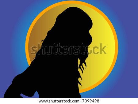 female head silhouette front gold circle stock illustration 7099498