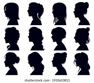 Female head silhouette. Women faces profile portraits, adult female anonymous characters face silhouettes. Girls profiles  illustration set