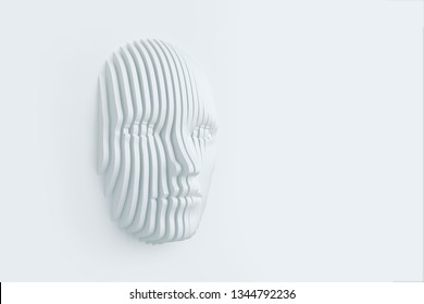 The female head is stratified on a plane with a void space to place the text. Abstract background. 3D illustration