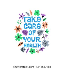 Female healthcare campaign flat  banner template. Take care of your health text witn floral design