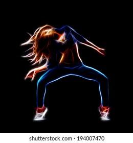 Female hip hop dancer, neon fractal artwork, isolated on black