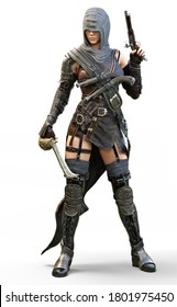 Female hooded pirate heavily armed  assassin stands ready on a white isolated background. 3d rendering