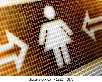 Female icon in the screen. 3D Illustration.