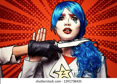 Female with knife near throat. Portrait of young woman in comic pop art make-up style.
