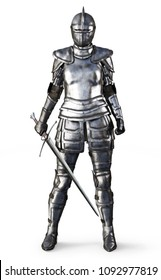 Female knight on an isolated white background. 3d rendering