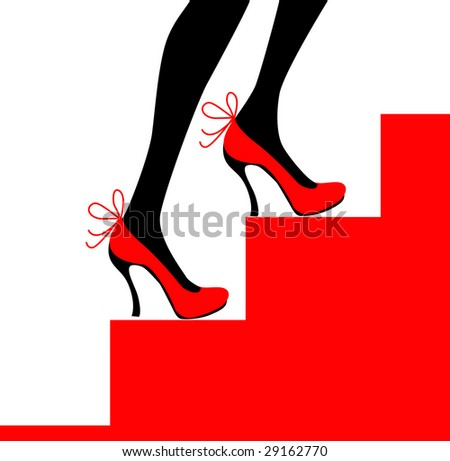 7e1a188640e Royalty-free stock illustration ID  29162770. Female legs in black shoes  and stockings in a grid on stairs - Illustration