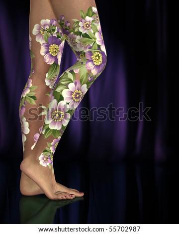 Female Legs Purple Pink Flower Tattoos Stock Illustration 55702987