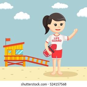 female lifeguard with tube buoy
