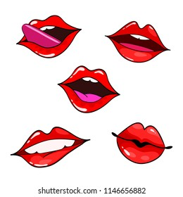 Female lips set. Mouth with a kiss, smile, tongue, teeth. Сomic illustration in pop art retro style isolated on white background.