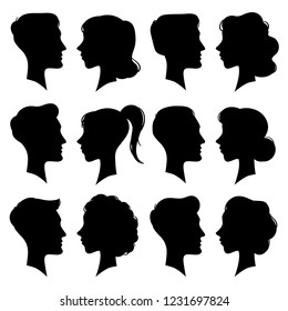 Female and Male faces silhouettes in vintage cameo style. Retro woman and man face profile portrait head black silhouette icon. People pony tail girl and boy couple  icons isolated symbol set