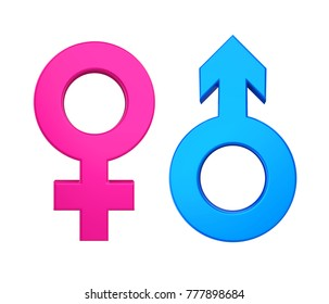 Female Male Gender Symbol Isolated. 3D rendering