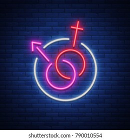 Female and male gender symbols, a symbol, an icon made in a neon style isolated. illustration.