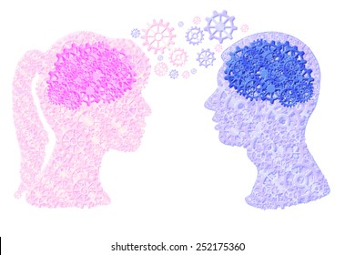 Female and male head made of cogs/gears implying thinking together