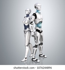 Female and male robots posing on a light gray background. 3D illustration