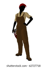 Female mechanic illustration silhouette on a white background