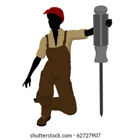 Female mechanic with a screwdriver illustration silhouette on a white background