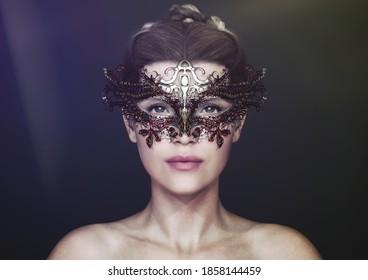 female model wearing a jewel eye mask venice style - 3d rendering