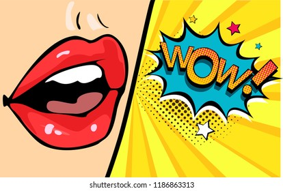 Female mouth with speech bubble wow. Cartoon comic illustration in pop art retro style.
