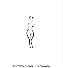 female nude body shape line illustration icon logo design