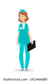 Female nurse in uniform standing. Pretty medical or hospital worker holding clipboard. Medicine and healthcare. Isolated  illustration in cartoon style.