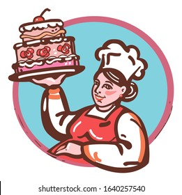 Female Pastry Chef Baking a Cake, baker's woman logo