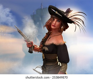 A female pirate with a blunderbuss that has just been fired.