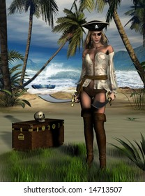 Female pirate guarding a treasure chest on a tropical island.