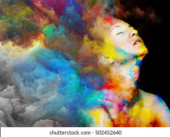 Female portrait blended with abstract colors on the subject of joy of life and imagination