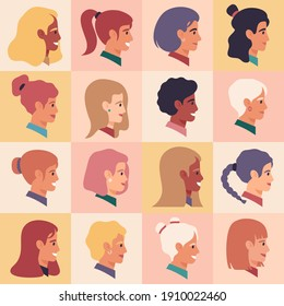Female profile faces. Women portraits, various nationality, brunette, blonde, redhead female characters. Girls avatars  illustration set. Female character profile, people casual avatar