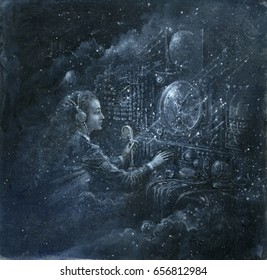 Female radio operator surrounded by a surreal night sky background.
