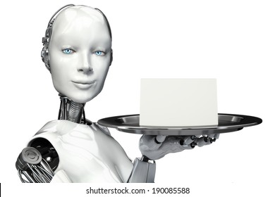 Female robot holding a serving tray with a blank card advertisement with room for text or copy space