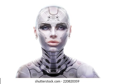 Female robot portrait. Cyber-girl looking into the camera