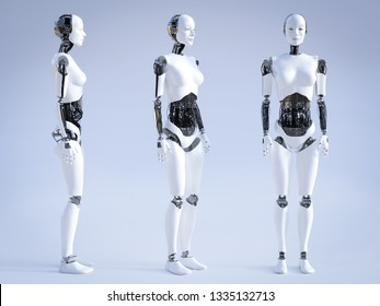 Female robot standing, a view of it from three different angles, 3D rendering.