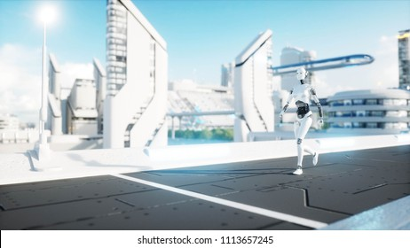 Female robot walking. Futuristic city, town. People and robots. 3d rendering.