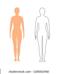 female silhouette (contour) in full growth, isolated on a white background. Raster copy. woman, girl.