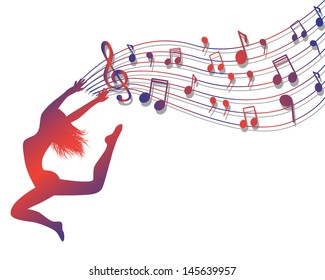 Female silhouette jumping. Woman holding a musical lineup with notes and treble clef