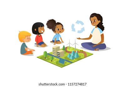 Female teacher discusses ecology Green-city using model landscape, children sit on floor in circle and listen to her. Preschool activities and early childhood education. Illustration.